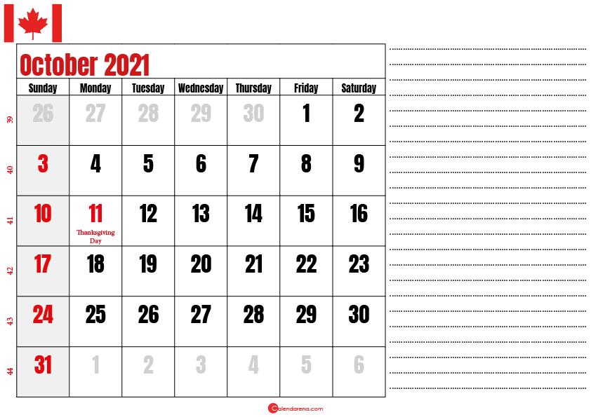 october 2021 printable calendar ca