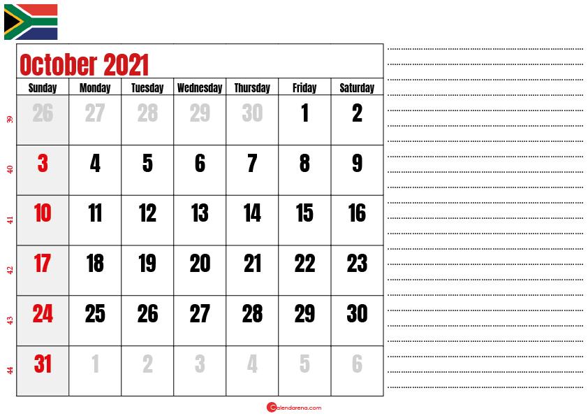 october 2021 printable calendar south africa