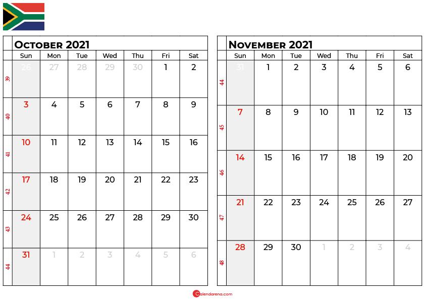 october and november 2021 calendar south africa