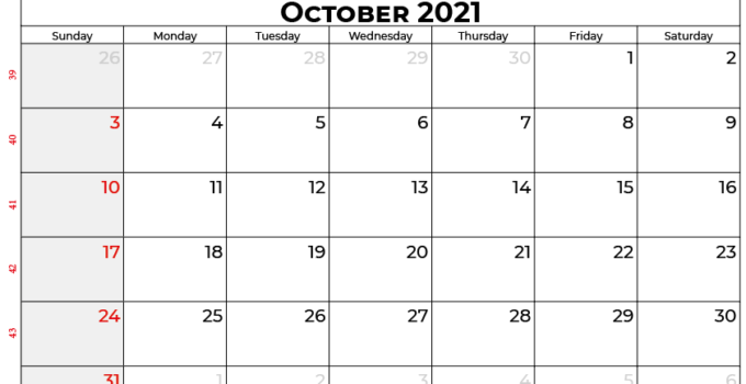 october calendar 2021 UK