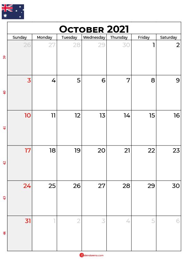 october calendar 2021 au