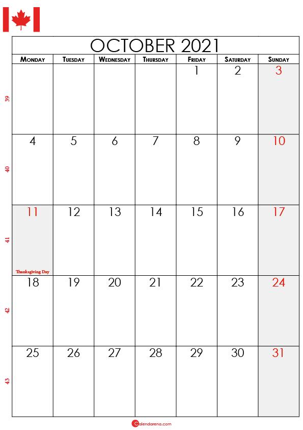october calendar 2021 ca