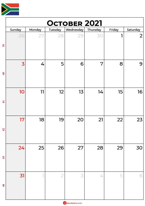 october calendar 2021 south africa