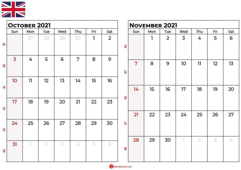 october november 2021 calendar UK