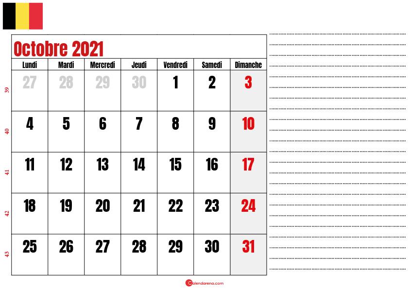 octobre 2021 calendrier belgique