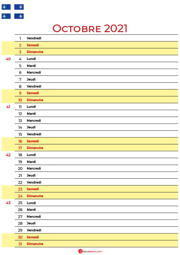 octobre 2021 calendrier quebec