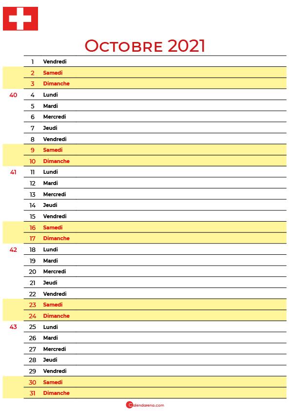 octobre 2021 calendrier suisse