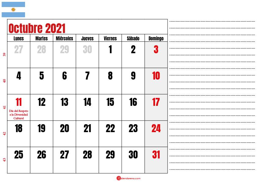 octubre 2021 calendario argentina