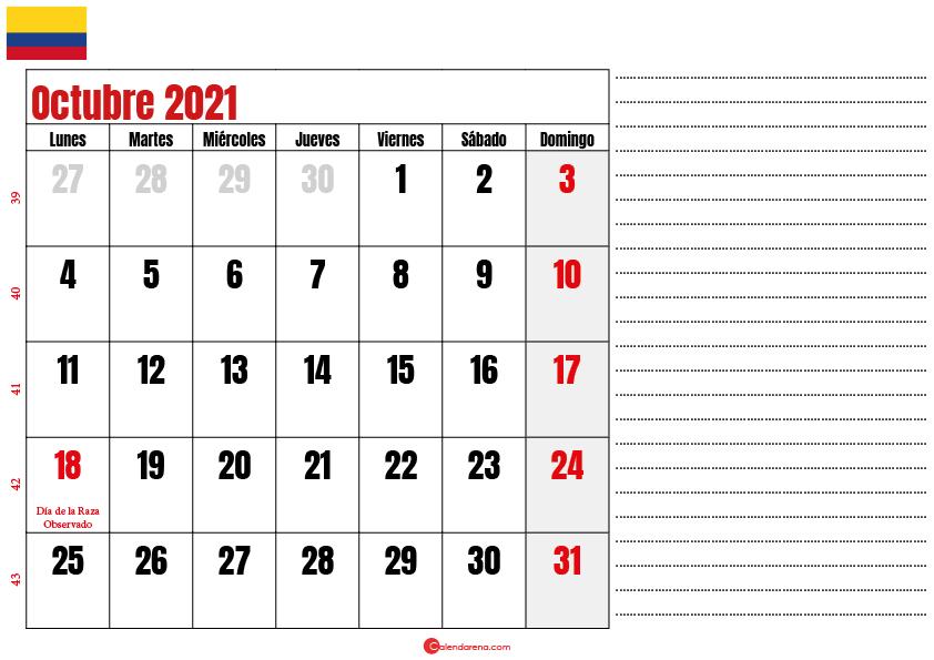 octubre 2021 calendario colombia