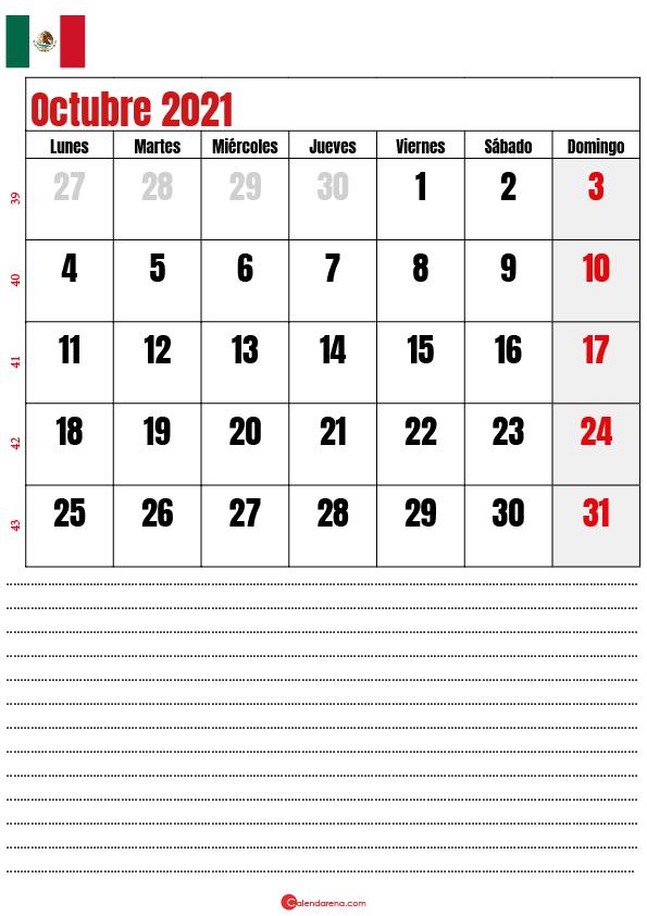 octubre 2021 calendario mexico