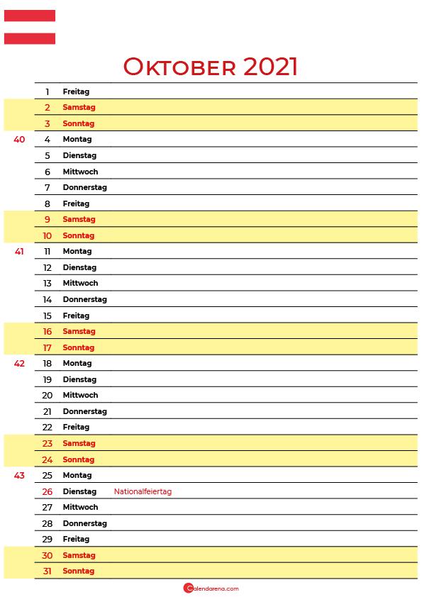 oktober 2021 kalender Österreich