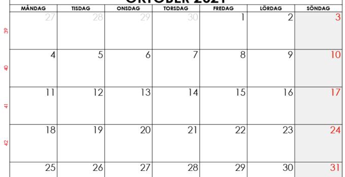 oktober 2021 kalender sw