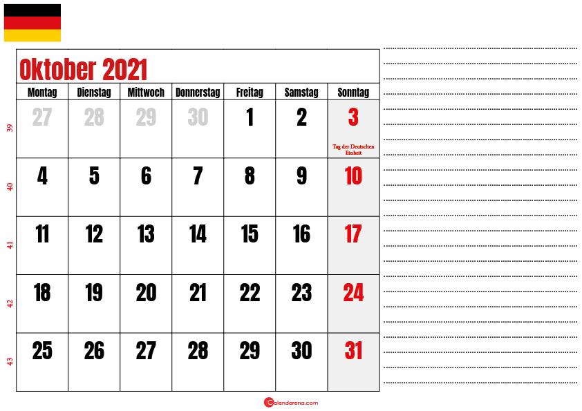 oktober kalender 2021 Deutschland