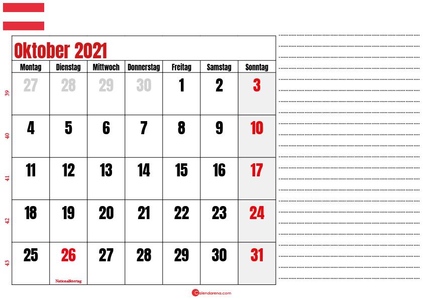 oktober kalender 2021 Österreich