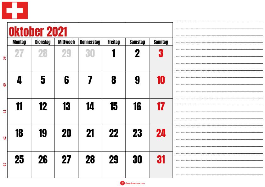 oktober kalender 2021 Schweiz