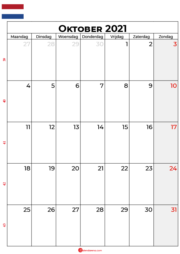 oktober kalender 2021 nl