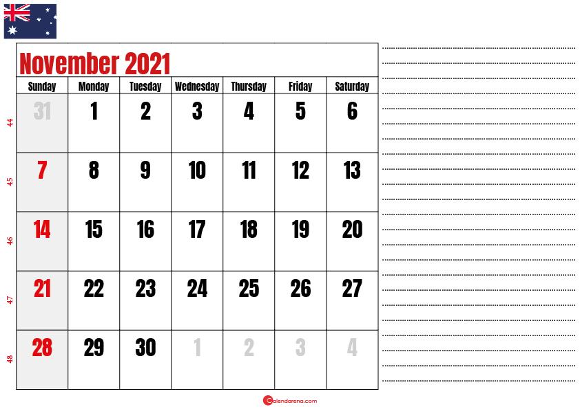 printable november 2021 calendar au