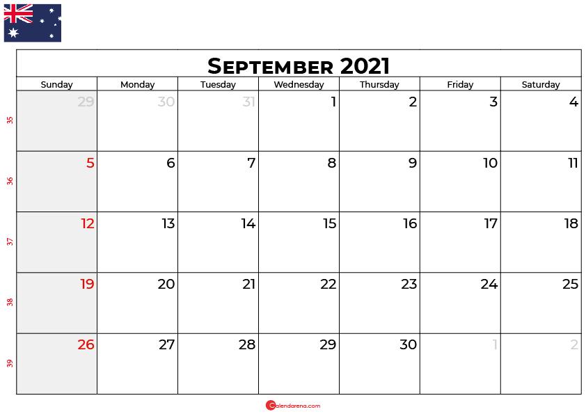 september 2021 calendar au