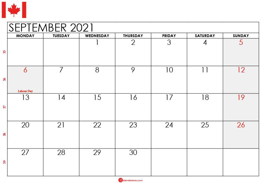 september 2021 calendar ca