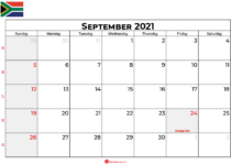 september 2021 calendar sa