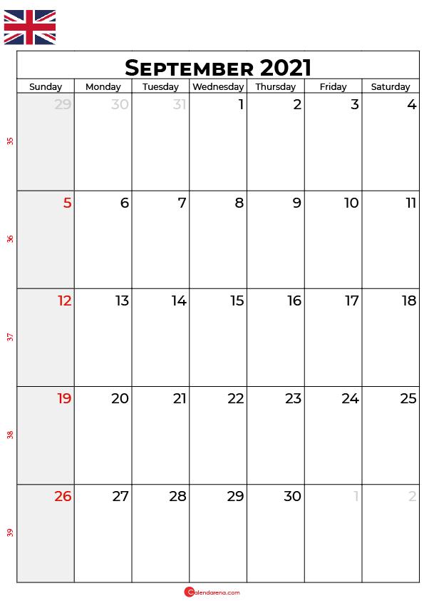 september 2021 calendar uk