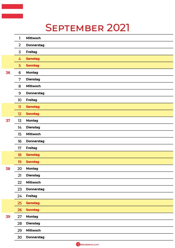 september 2021 kalender Österreich