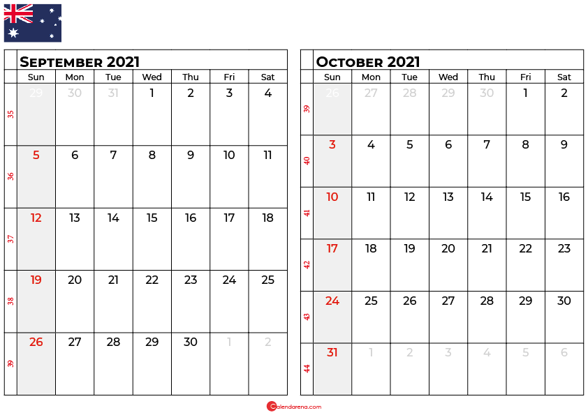 september and october 2021 calendar au