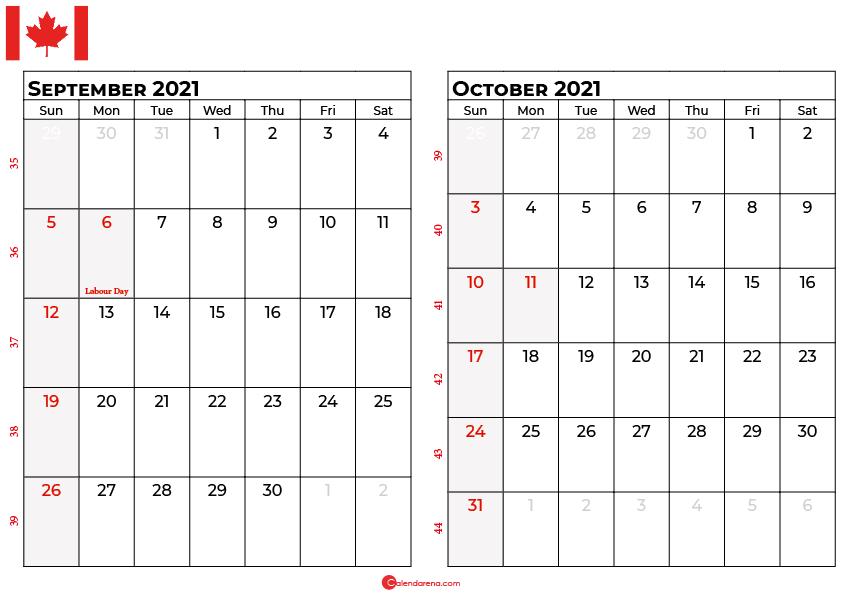 september and october 2021 calendar ca