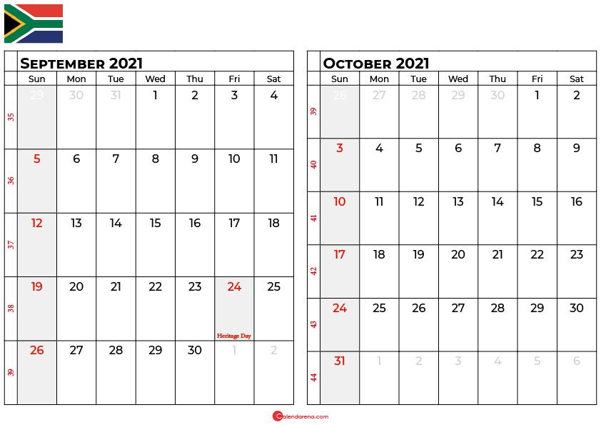 september and october 2021 calendar south africa