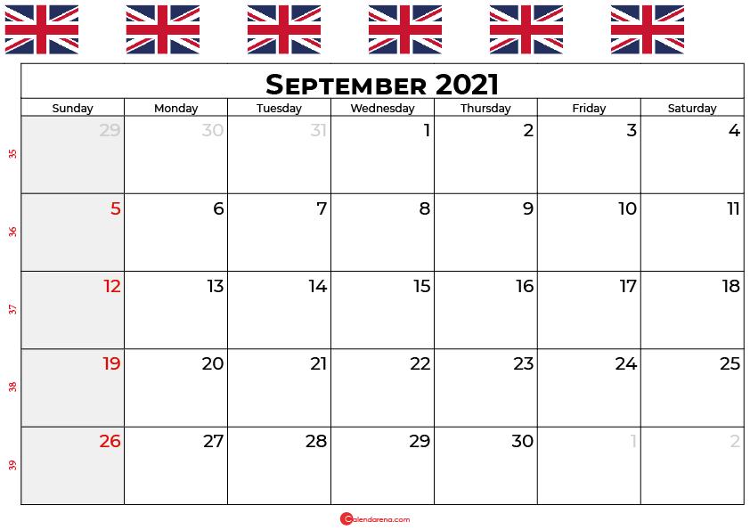 september calendar 2021 UK