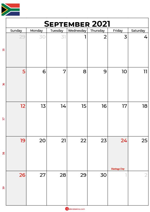 september calendar 2021 south africa