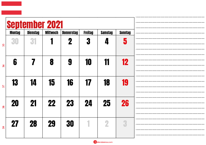 september kalender 2021 Österreich