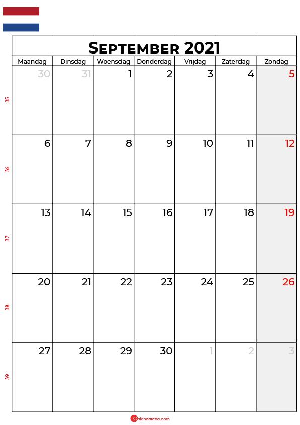 september kalender 2021 nl