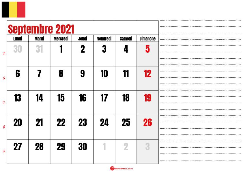 septembre 2021 calendrier belgique