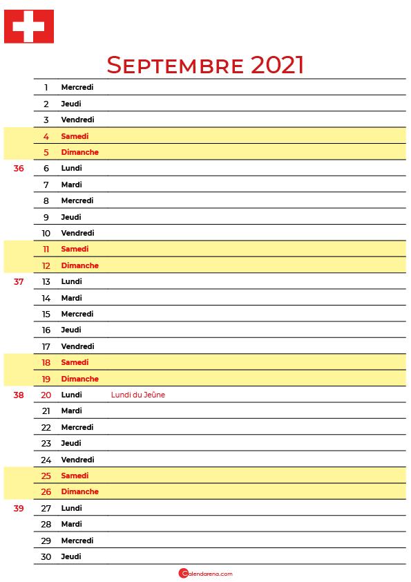 septembre 2021 calendrier suisse