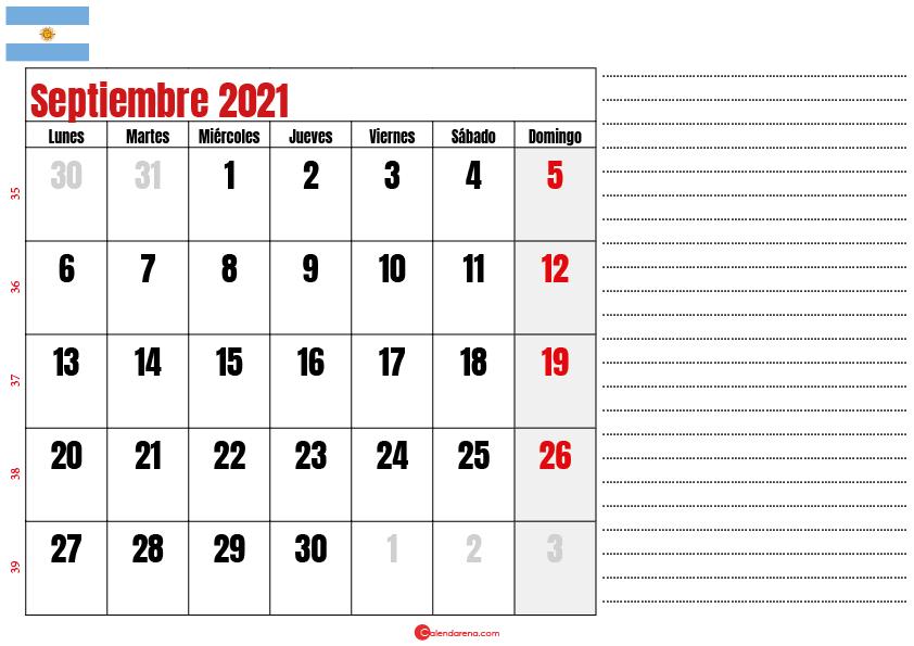 septiembre 2021 calendario argentina