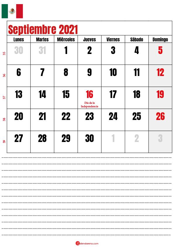 septiembre 2021 calendario mexico
