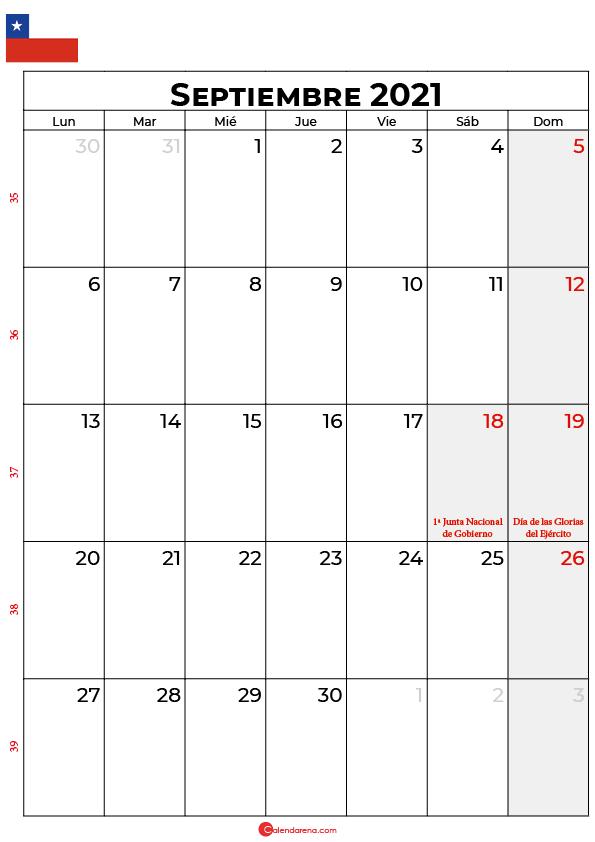 septiembre 2021 calendario