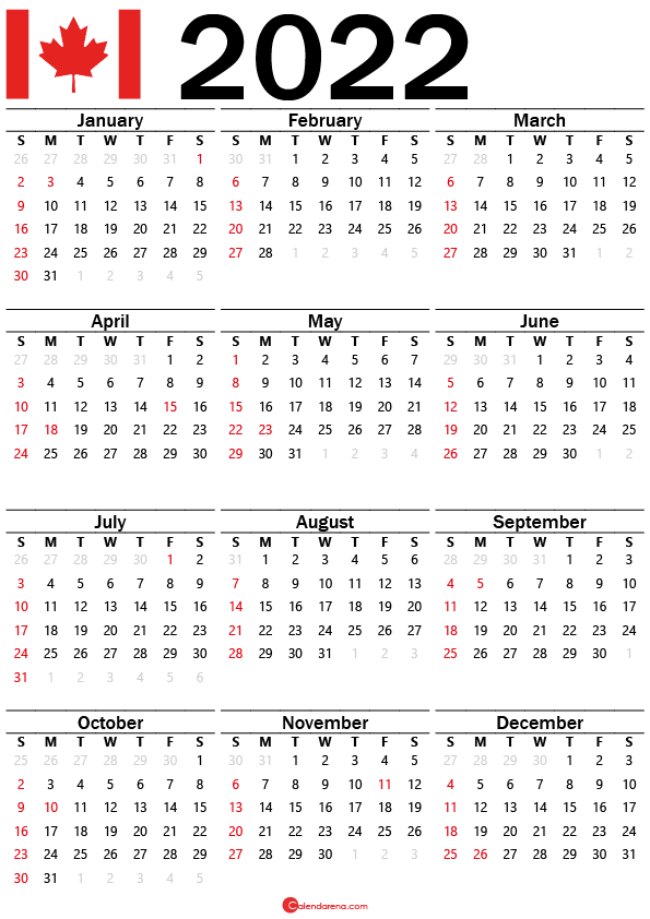 2022 Calendar with weeks numbers Canada