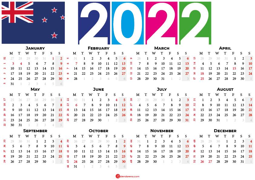 2022 calendar New Zealand