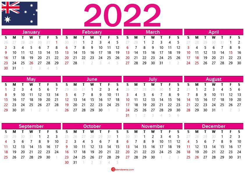 2022 calendar australia