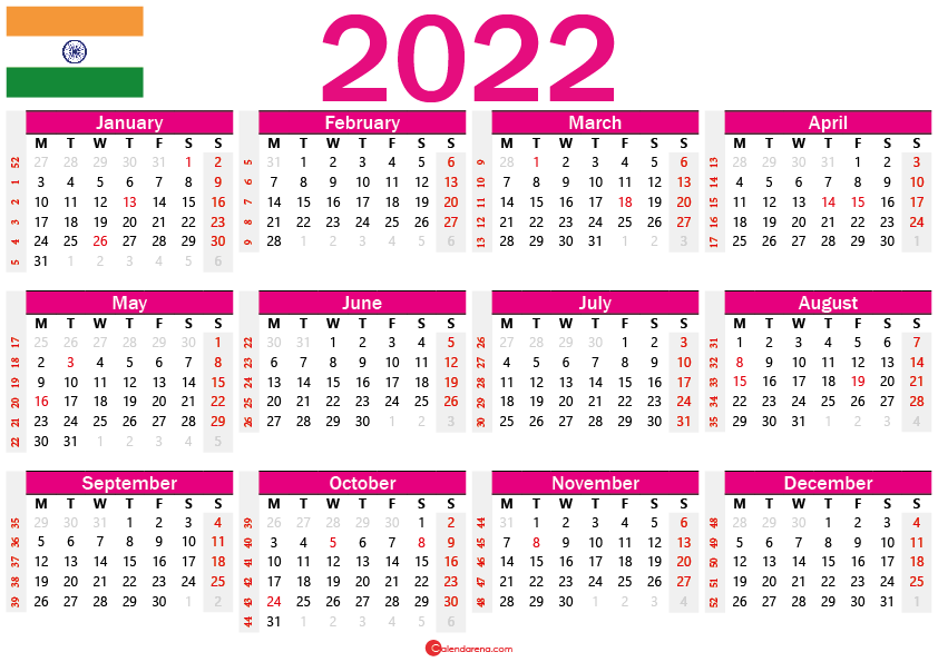 2022 calendar india with holidays