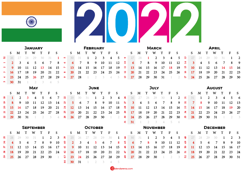 Download Free 2022 Calendar India With Indian Holidays
