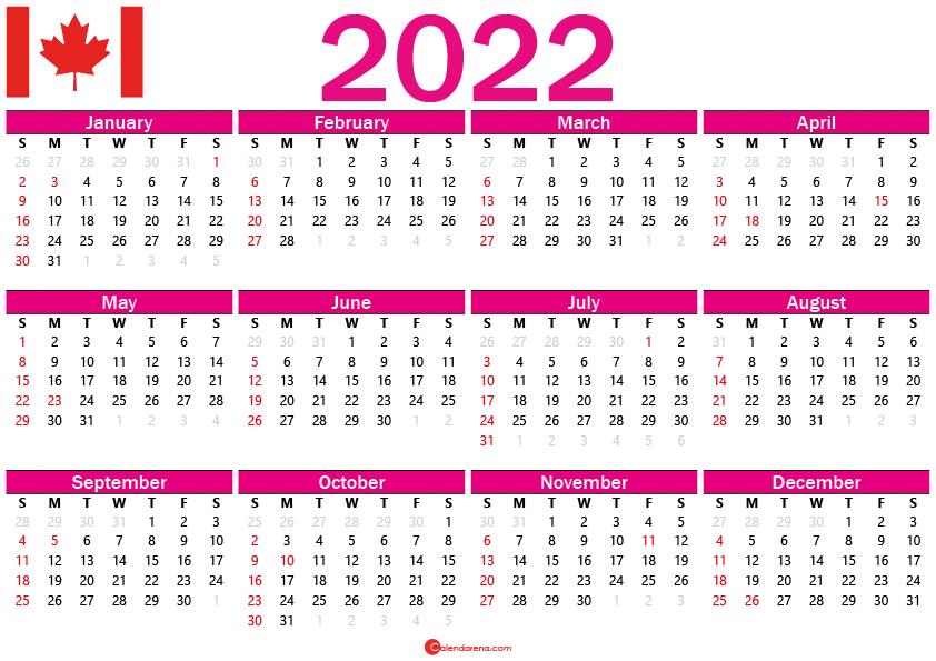 2022 calendar of canada