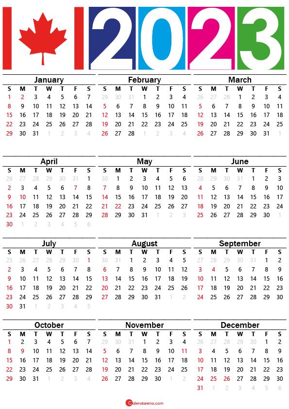 2023 calendar canada