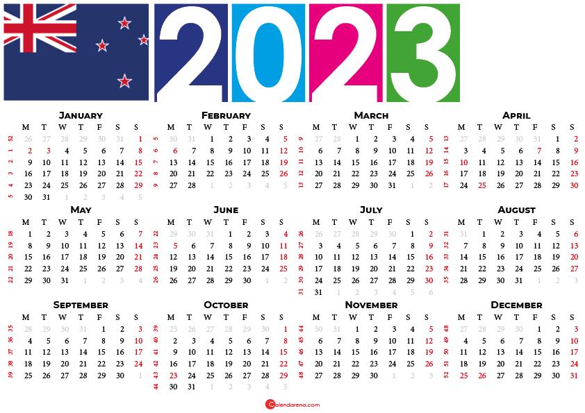 2023 calendar new zealand