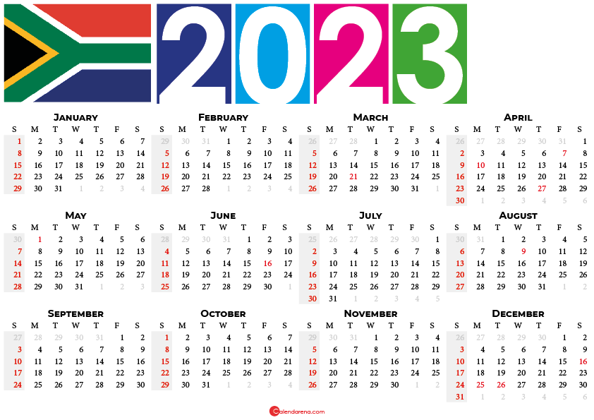 2023 calendar south africa