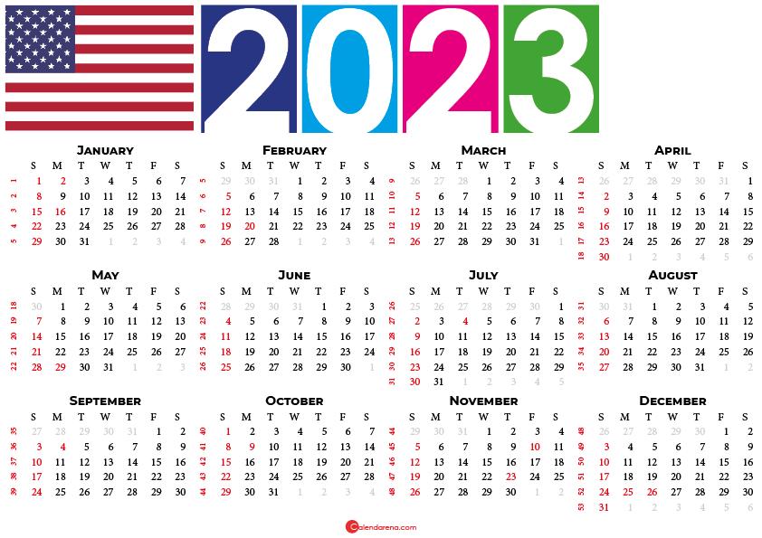 2023 calendar united states