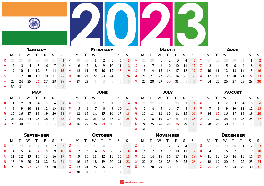 2023 calendar with indian holidays