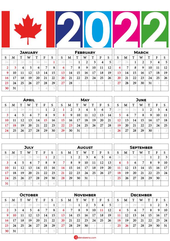 Calendar 2022 Canada with holidays